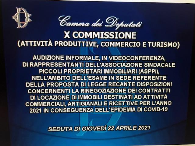 Audizione Presidente Zagatti presso Camera dei Deputati X Commissione (attività produttive, commercio e turismo) su rinegoziazione canoni di locazione uso commerciale